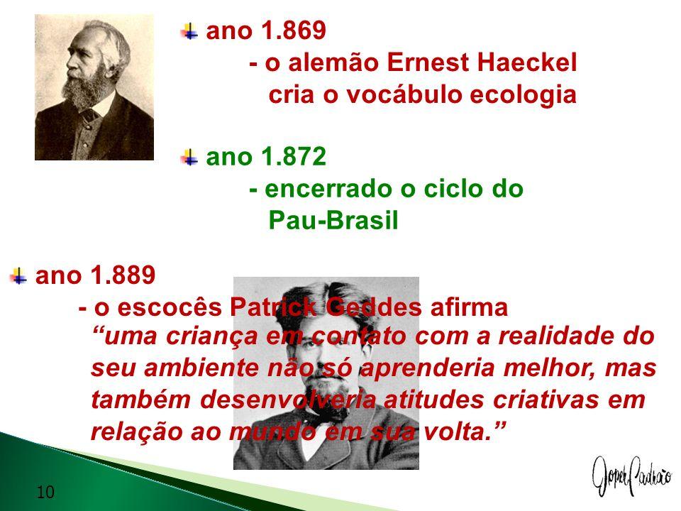 ano 1.869- o alemão Ernest Haeckel. cria o vocábulo ecologia. ano 1.872 - encerrado o ciclo do.