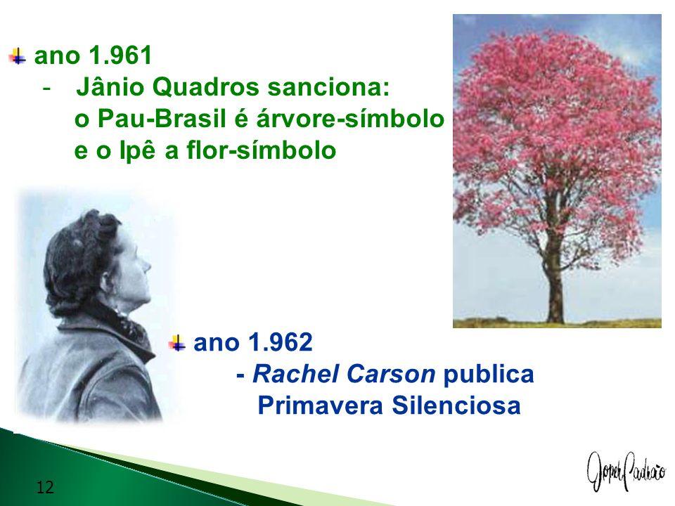 ano 1.961 Jânio Quadros sanciona: o Pau-Brasil é árvore-símbolo. e o Ipê a flor-símbolo. ano 1.962 - Rachel Carson publica.