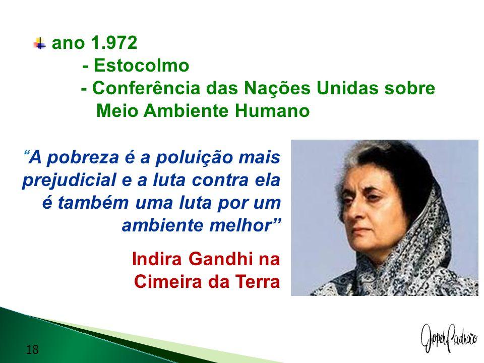ano 1.972 - Estocolmo - Conferência das Nações Unidas sobre. Meio Ambiente Humano.