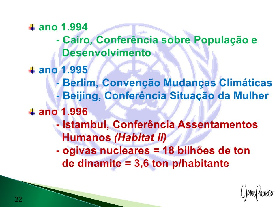 ano 1.994 - Cairo, Conferência sobre População e Desenvolvimento