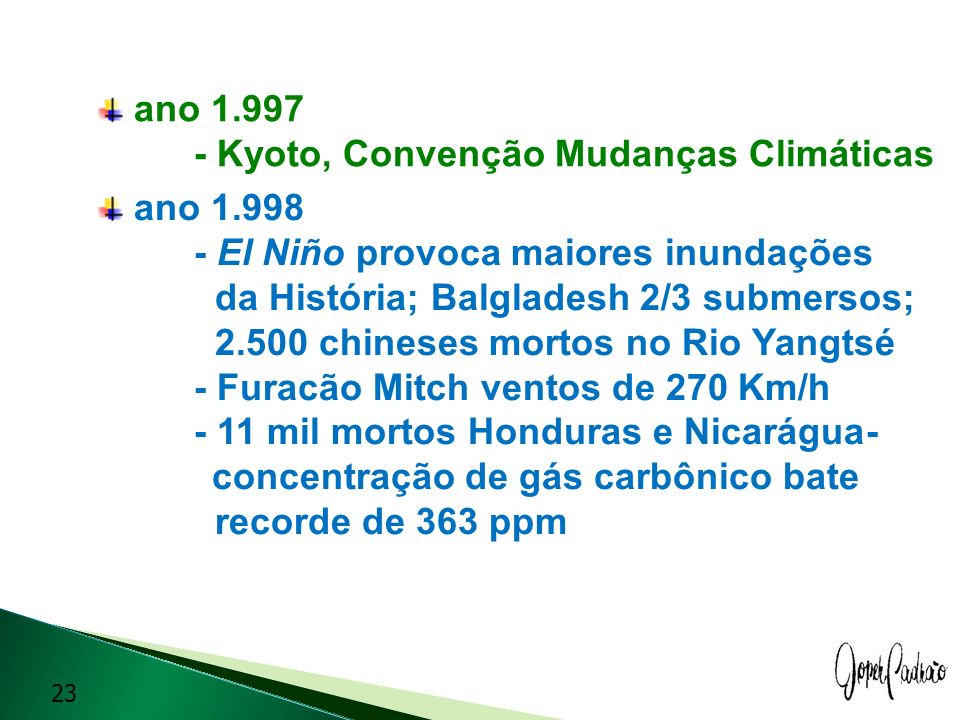 ano 1.997 - Kyoto, Convenção Mudanças Climáticas