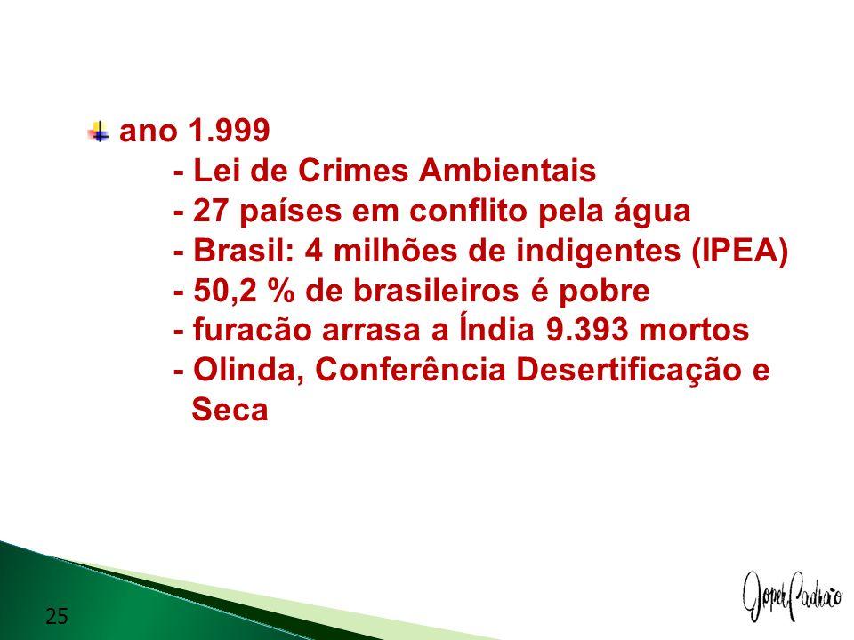 ano 1. 999. - Lei de Crimes Ambientais