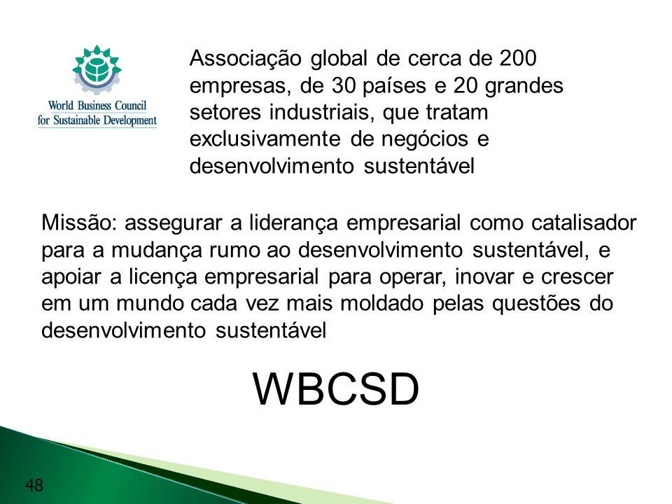Associação global de cerca de 200 empresas, de 30 países e 20 grandes setores industriais, que tratam exclusivamente de negócios e desenvolvimento sustentável