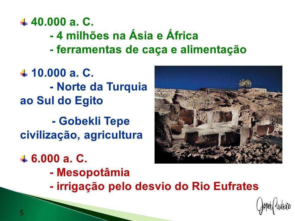 40. 000 a. C. - 4 milhões na Ásia e África