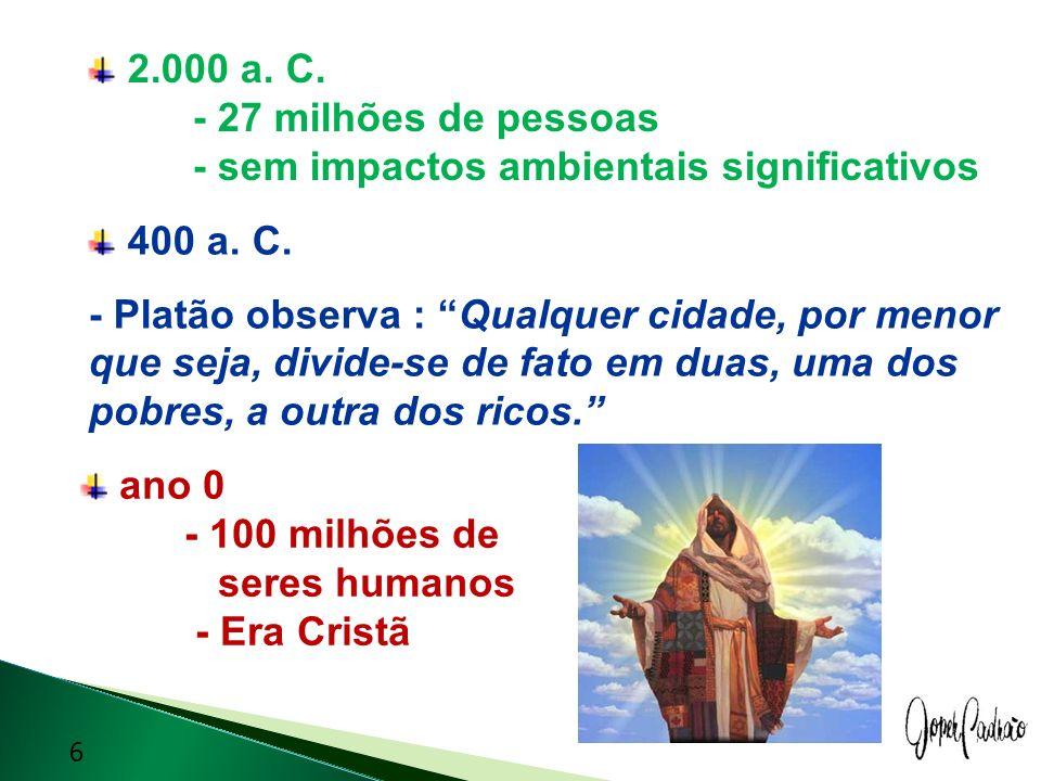 2.000 a. C. - 27 milhões de pessoas - sem impactos ambientais significativos