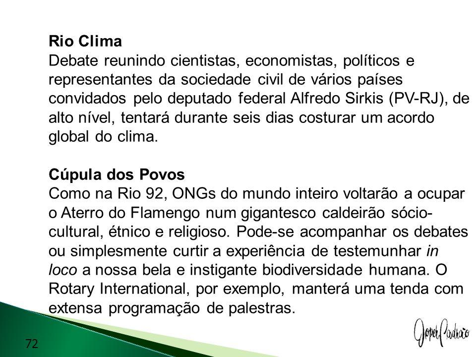 Rio Clima Debate reunindo cientistas, economistas, políticos e representantes da sociedade civil de vários países convidados pelo deputado federal Alfredo Sirkis (PV-RJ), de alto nível, tentará durante seis dias costurar um acordo global do clima.