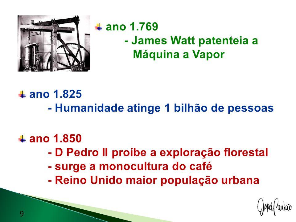 ano 1.769 - James Watt patenteia a