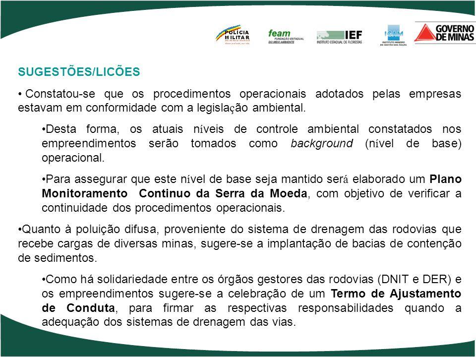 SUGESTÕES/LICÕES Constatou-se que os procedimentos operacionais adotados pelas empresas estavam em conformidade com a legislação ambiental.