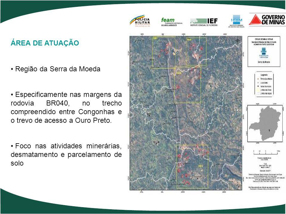 ÁREA DE ATUAÇÃO Região da Serra da Moeda.