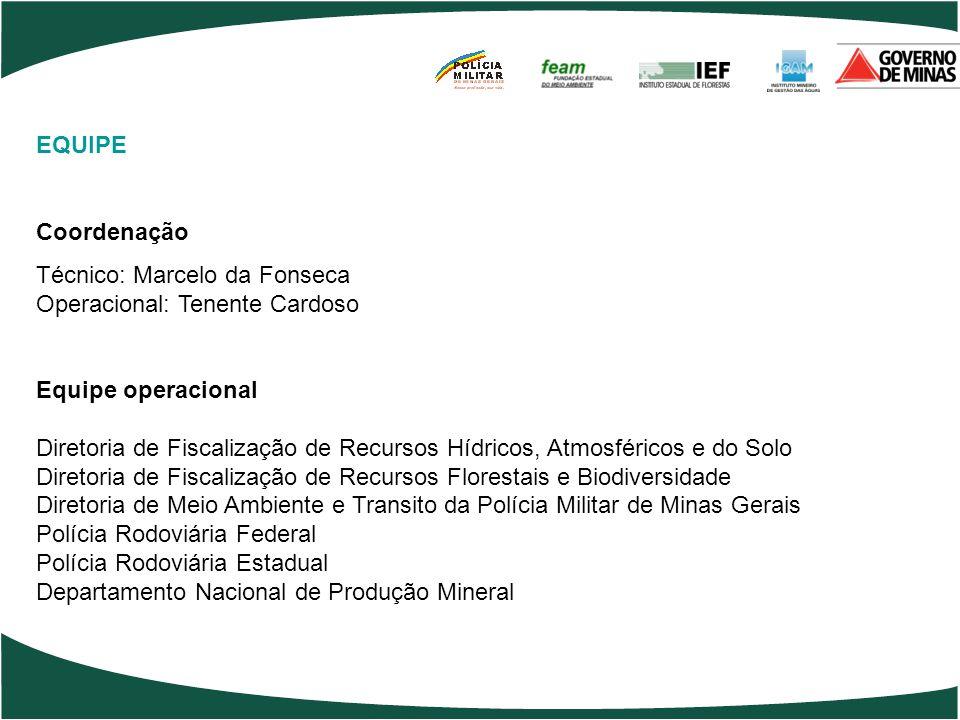 EQUIPE Coordenação. Técnico: Marcelo da Fonseca. Operacional: Tenente Cardoso. Equipe operacional.