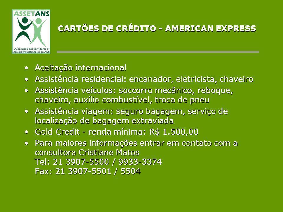 CARTÕES DE CRÉDITO - AMERICAN EXPRESS