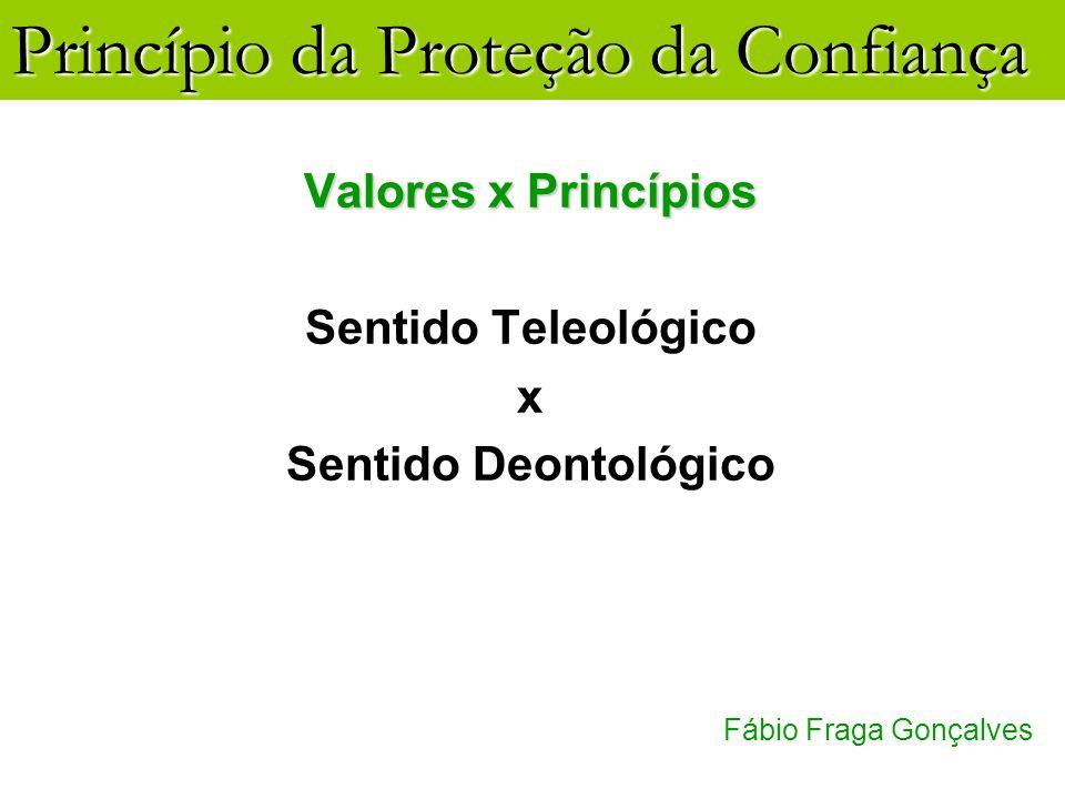 Valores x Princípios Sentido Teleológico x Sentido Deontológico