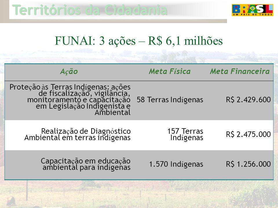 FUNAI: 3 ações – R$ 6,1 milhões
