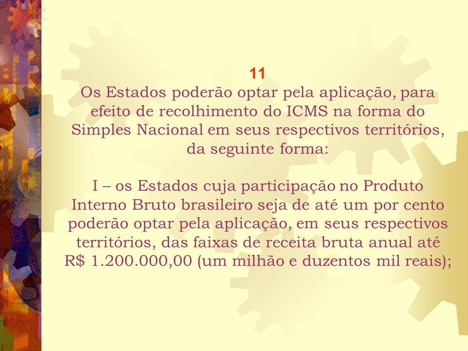 11 Os Estados poderão optar pela aplicação, para efeito de recolhimento do ICMS na forma do Simples Nacional em seus respectivos territórios, da seguinte forma: I – os Estados cuja participação no Produto Interno Bruto brasileiro seja de até um por cento poderão optar pela aplicação, em seus respectivos territórios, das faixas de receita bruta anual até R$ 1.200.000,00 (um milhão e duzentos mil reais);