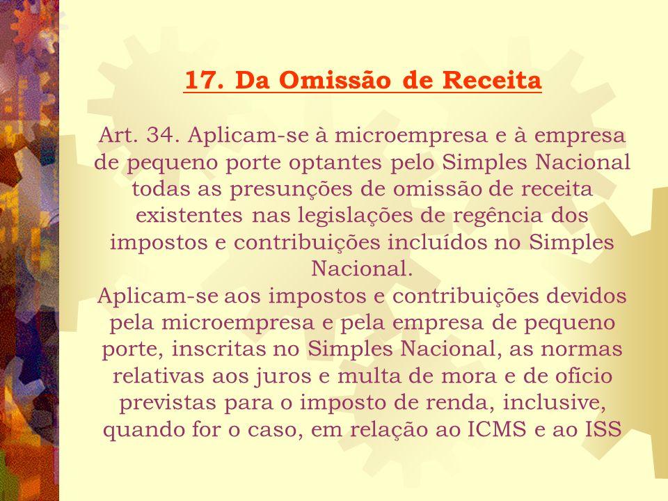 17. Da Omissão de Receita Art. 34