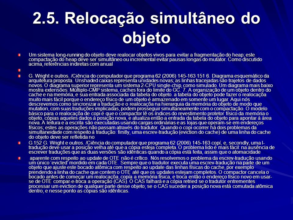 2.5. Relocação simultâneo do objeto