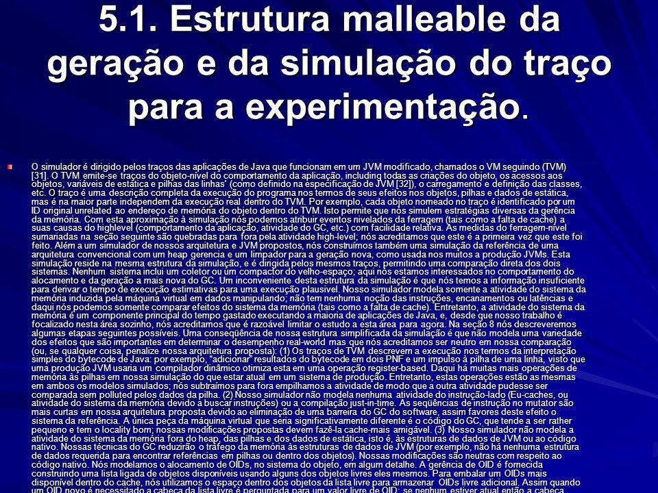5.1. Estrutura malleable da geração e da simulação do traço para a experimentação.