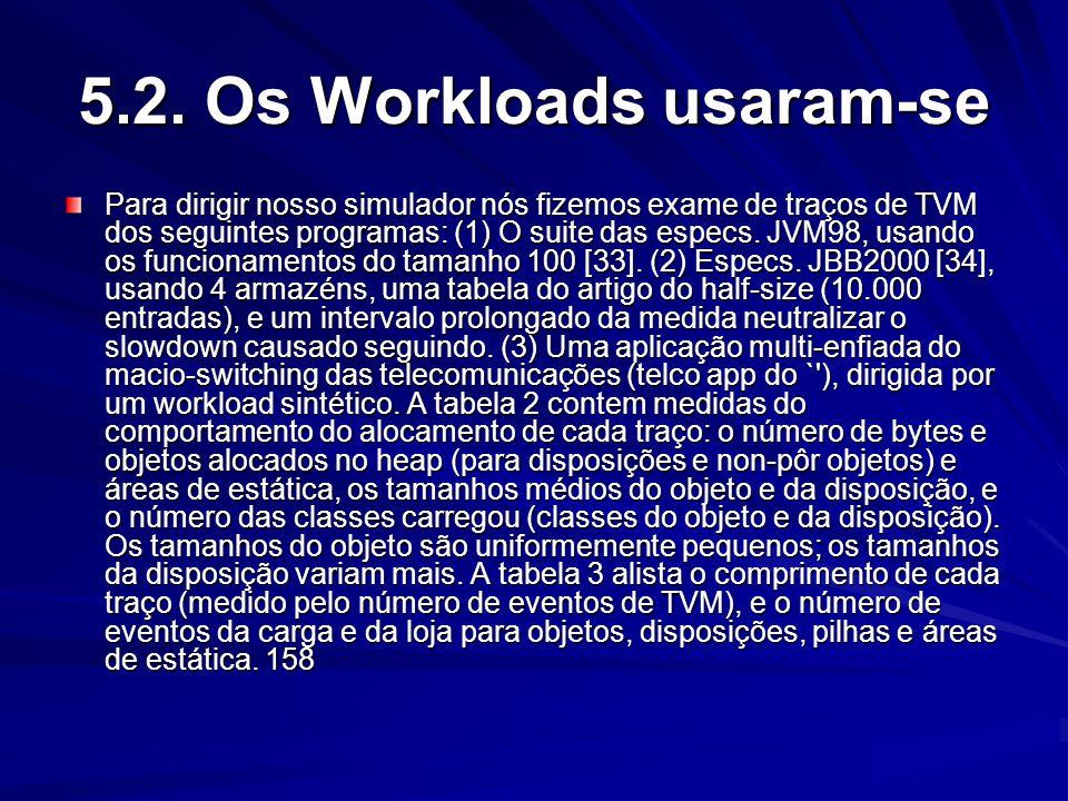 5.2. Os Workloads usaram-se