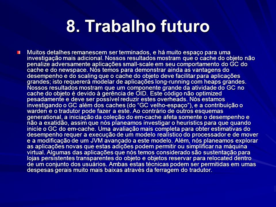 8. Trabalho futuro