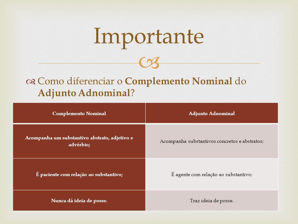 Importante Como diferenciar o Complemento Nominal do Adjunto Adnominal Complemento Nominal. Adjunto Adnominal.