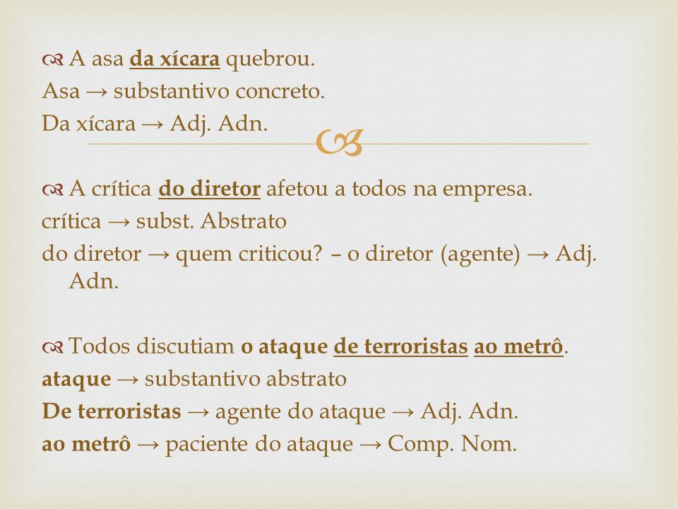 A asa da xícara quebrou. Asa → substantivo concreto. Da xícara → Adj. Adn. A crítica do diretor afetou a todos na empresa.
