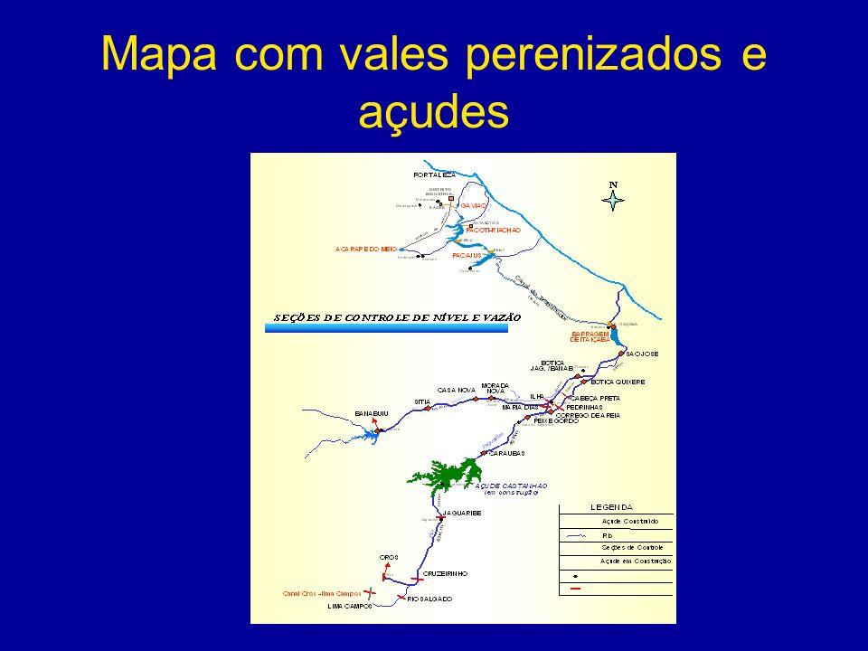 Mapa com vales perenizados e açudes