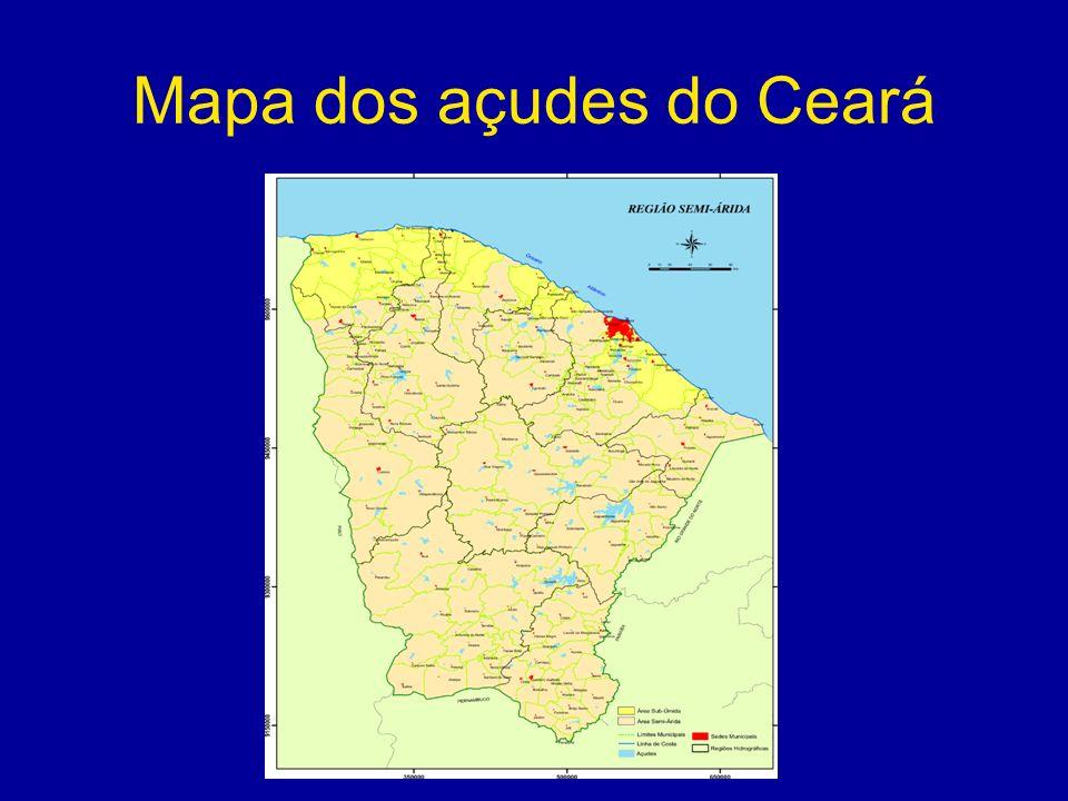 Mapa dos açudes do Ceará