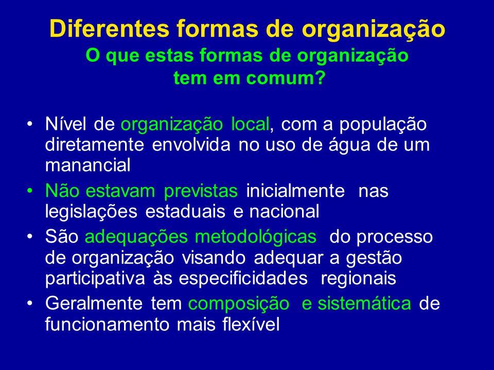 Diferentes formas de organização O que estas formas de organização tem em comum