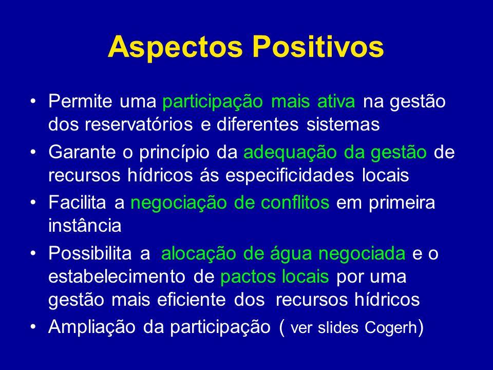 Aspectos Positivos Permite uma participação mais ativa na gestão dos reservatórios e diferentes sistemas.