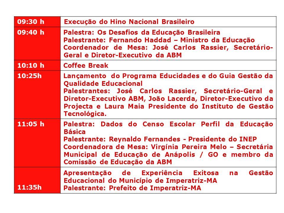 09:30 hExecução do Hino Nacional Brasileiro. 09:40 h. Palestra: Os Desafios da Educação Brasileira.