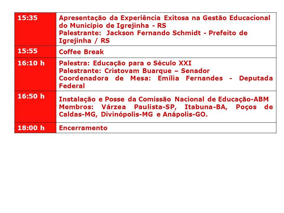 15:35Apresentação da Experiência Exitosa na Gestão Educacional do Município de Igrejinha - RS.