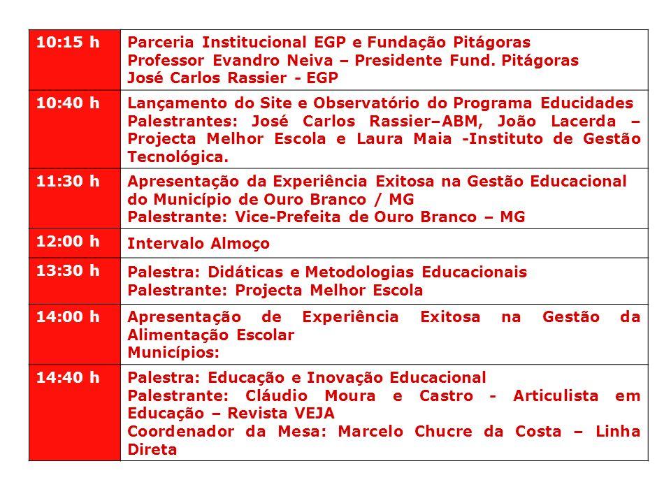 10:15 hParceria Institucional EGP e Fundação Pitágoras. Professor Evandro Neiva – Presidente Fund. Pitágoras.