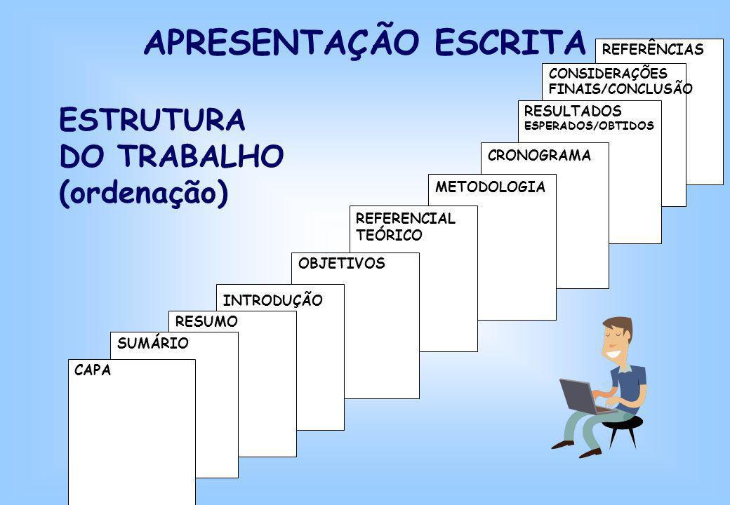APRESENTAÇÃO ESCRITA ESTRUTURA DO TRABALHO (ordenação) REFERÊNCIAS