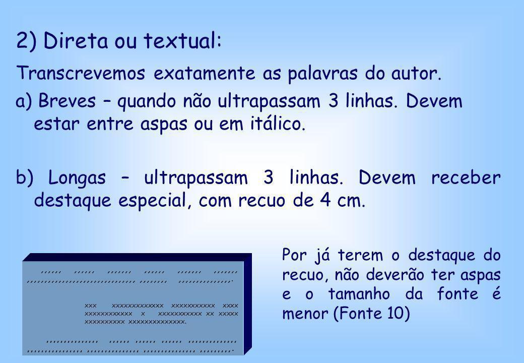 2) Direta ou textual: Transcrevemos exatamente as palavras do autor.