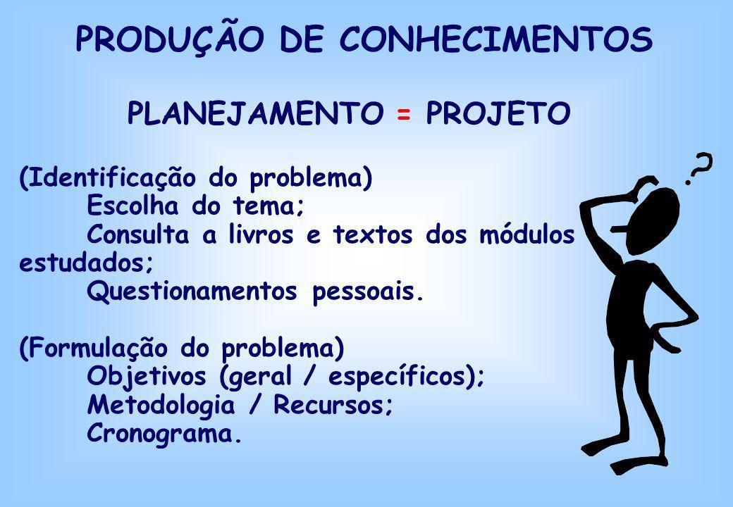 PRODUÇÃO DE CONHECIMENTOS PLANEJAMENTO = PROJETO