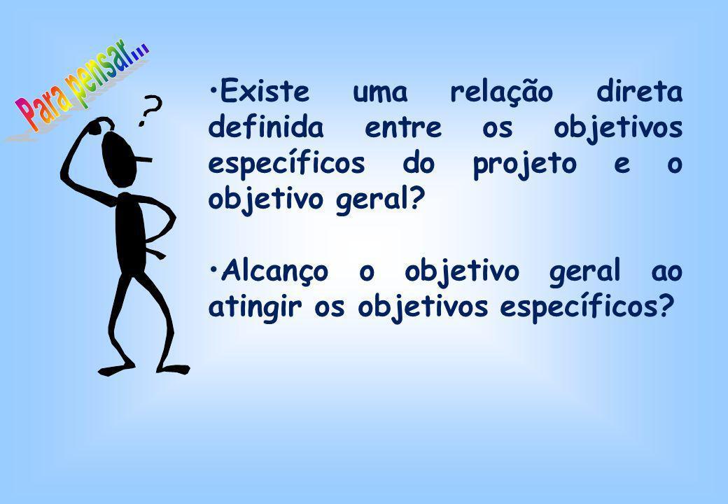 Existe uma relação direta definida entre os objetivos específicos do projeto e o objetivo geral