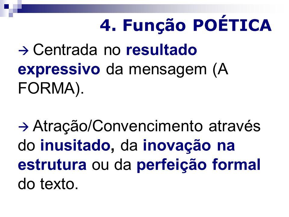 4. Função POÉTICA  Centrada no resultado expressivo da mensagem (A FORMA).