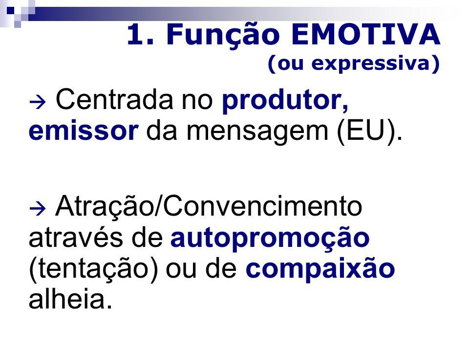 1. Função EMOTIVA (ou expressiva)