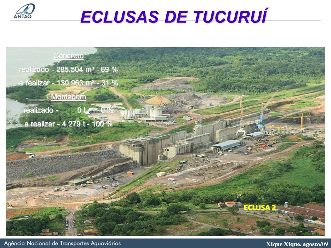 ECLUSAS DE TUCURUÍ ECLUSA 2 Concreto realizado - 285.504 m³ - 69 %