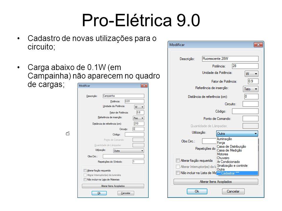 Pro-Elétrica 9.0 Cadastro de novas utilizações para o circuito;