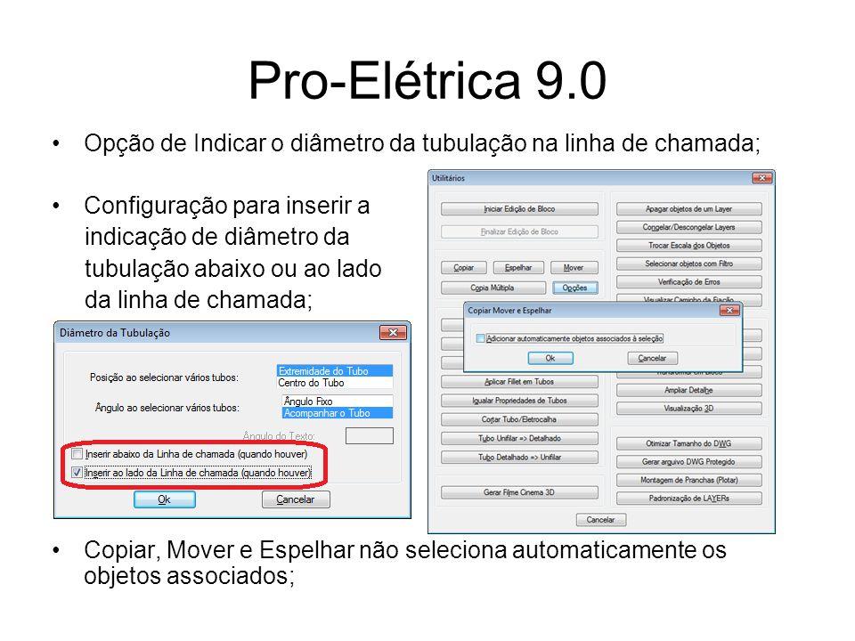 Pro-Elétrica 9.0 Opção de Indicar o diâmetro da tubulação na linha de chamada; Configuração para inserir a.