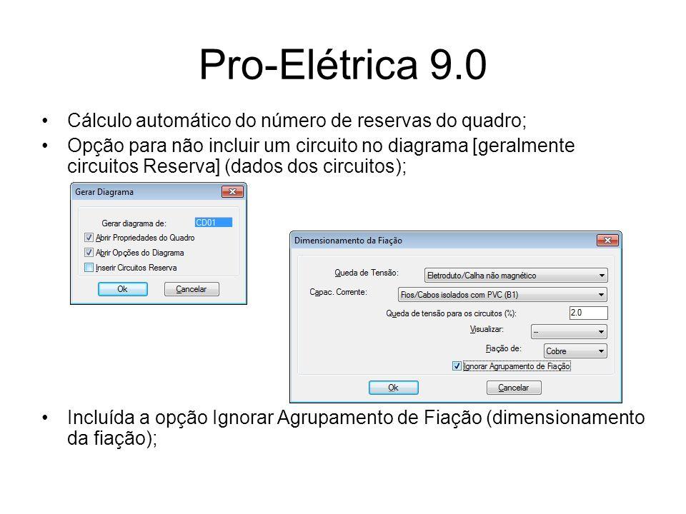 Pro-Elétrica 9.0 Cálculo automático do número de reservas do quadro;