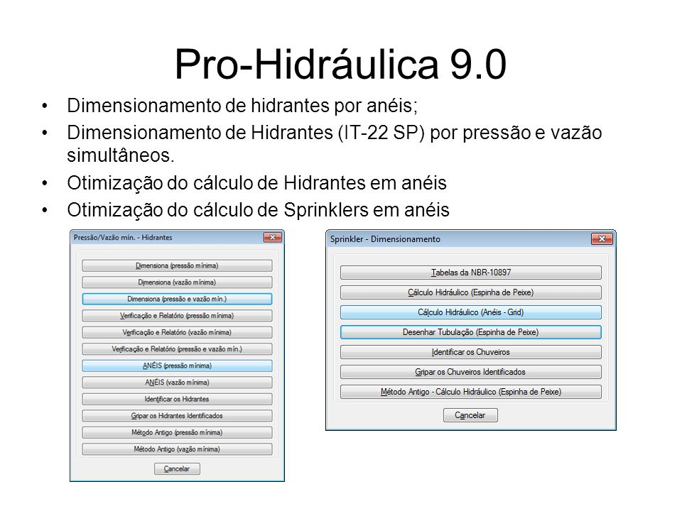 Pro-Hidráulica 9.0 Dimensionamento de hidrantes por anéis;