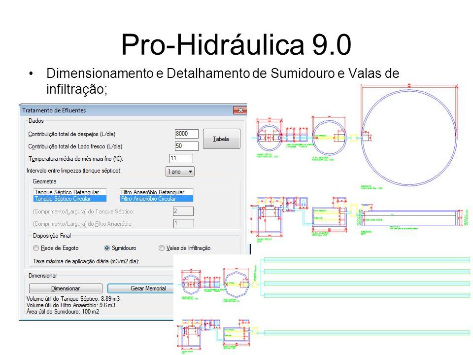 Pro-Hidráulica 9.0 Dimensionamento e Detalhamento de Sumidouro e Valas de infiltração;