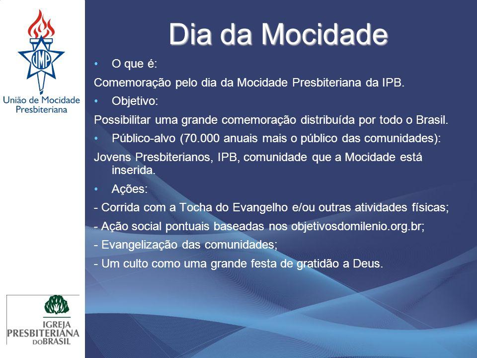 Dia da Mocidade O que é: Comemoração pelo dia da Mocidade Presbiteriana da IPB. Objetivo:
