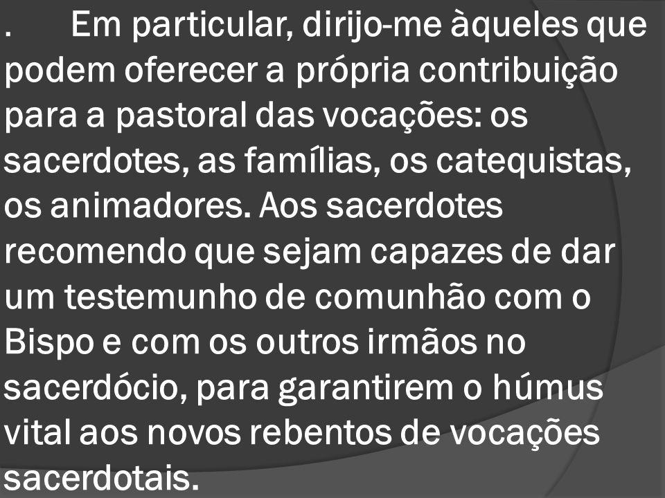 Em particular, dirijo-me àqueles que podem oferecer a própria contribuição para a pastoral das vocações: os sacerdotes, as famílias, os catequistas, os animadores.