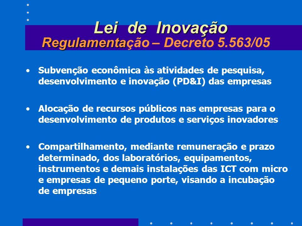 Lei de Inovação Regulamentação – Decreto 5.563/05