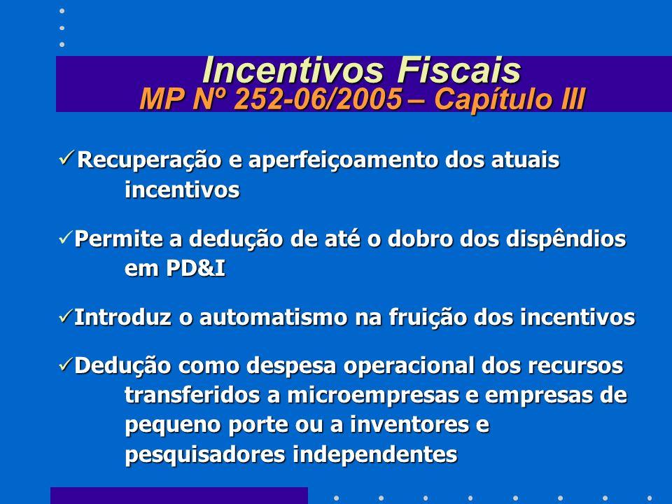 Incentivos Fiscais MP Nº 252-06/2005 – Capítulo III