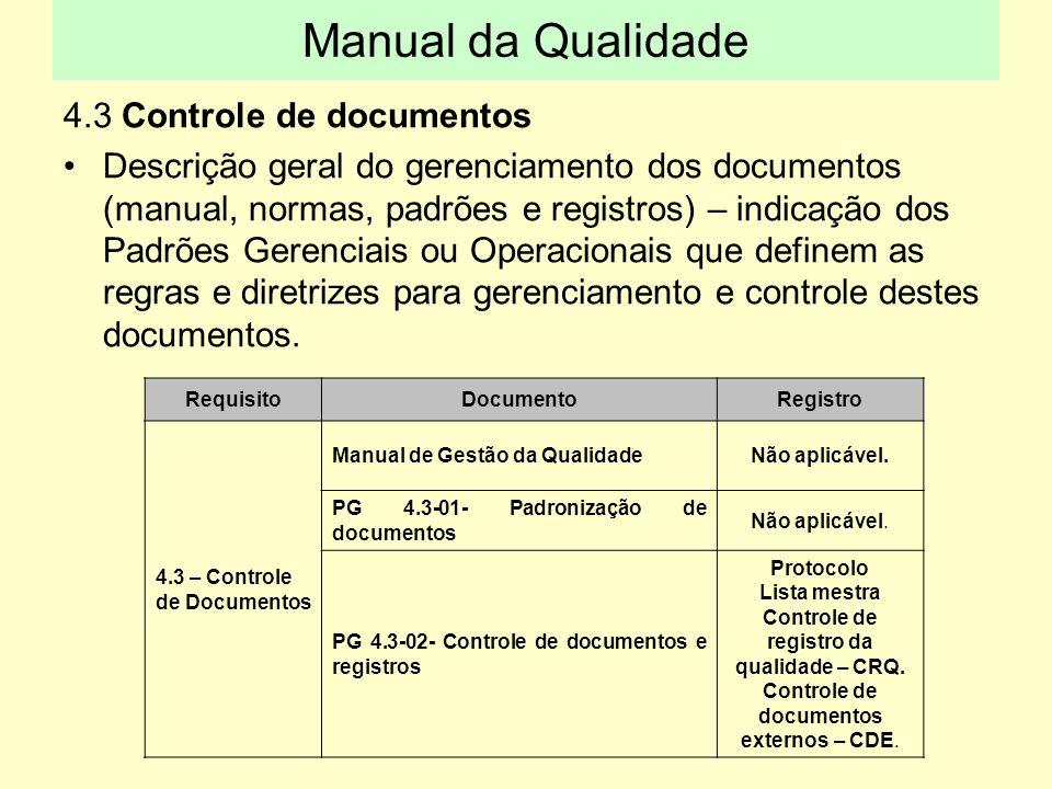 Controle de registro da qualidade – CRQ.