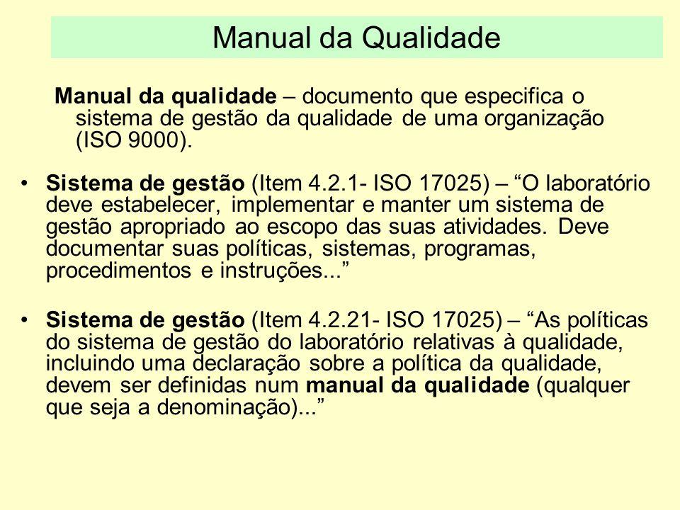 Manual da Qualidade Manual da qualidade – documento que especifica o sistema de gestão da qualidade de uma organização (ISO 9000).
